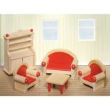 LekVira.se - Dockhusmöbler i trä vardagsrum
